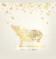 zodiac symbol with curves of ribbon confetti vector image