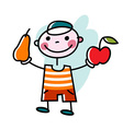 Smiling boy offers apple and pear vector image