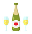 bottle of champagne with glasses flat icon vector image