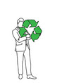 businessman holding recycling sign vector image