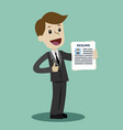 businessman or manager in the suit holding resume vector image