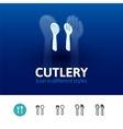 Cutlery icon in different style vector image