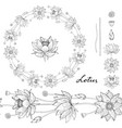black and white wreath and seamless brush lotus vector image