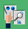 businessman hand paper magnifier pen statistics vector image vector image