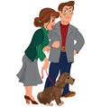 Cartoon couple with dog vector image vector image