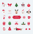 christmas set cute animals santa snowman and vector image