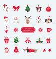 christmas set of cute animals santa snowman vector image