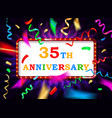 colorful 35 date celebration background vector image