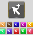 Cursor arrow plus add icon sign Set with eleven vector image vector image