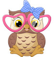 cute little owl girl wearing pink glasses vector image vector image