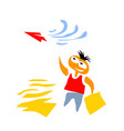 dream boy launches paper plane vector image