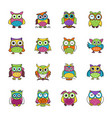 flat icons set of owls vector image vector image