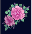 floral arrangement with pink roses on dark vector image