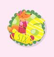funny children education card cartoon fox vector image vector image