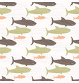 green brown and pink shark silhouette wave vector image vector image