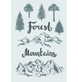 Hand drawn mountain landscape and isolated trees vector image vector image