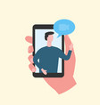 hand holding phone with video chat boy vector image
