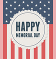 happy memorial day label on flag national vector image
