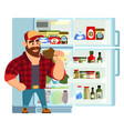 hungry or thirsty man taking out juice bottle from vector image