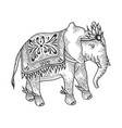indian elephant sketch engraving vector image vector image