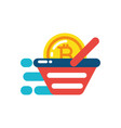 isolated bitcoin inside shopping basket vector image vector image