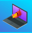 isometric letter and mailbox flying out of laptop vector image vector image