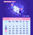 isometric month february from set calendar of 2019 vector image