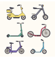 Kick Scooter Line Set vector image vector image