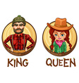 King and queen characters on round badges vector image