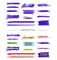 marker and brush strokes for highlighting text vector image vector image