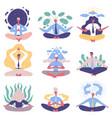 office people group meditation yoga lotus posture vector image vector image