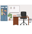 office workplace office chief in flat style vector image
