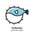 pufferfish monocolor vector image