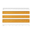 realistic wooden ruler metric imperial rulers vector image vector image