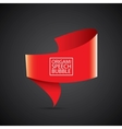 red christmas origami speech bubble banner vector image