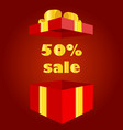 red gift box with 50 percent bonus inside vector image vector image