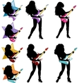 Rock star guitarist girl silhouettes set vector image