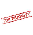 scratched textured top priority stamp seal vector image