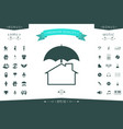 security and protection icon home under umbrella vector image