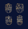 set house badges flat dark blue vector image