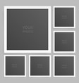 square photo frame set mock up with shadow vector image vector image