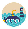 submarine and lighthouse maritime transport vector image vector image
