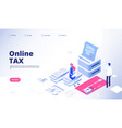tax payment landing page online tax web vector image vector image