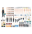 technical worker creation kit set of flat male vector image vector image