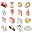 time and clock icons set isometric style vector image vector image