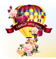 valentines day back with roses and air balloon vector image vector image
