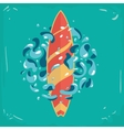 Vintage poster with a surfboard surfboard vector image