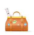 Vintage suitcase with stickers and plane ticket vector image