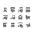 Wheel food stall glyph style icons set vector image vector image