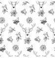 winter outline seamless pattern with deer and vector image